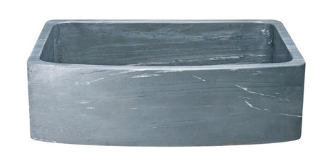 "33"" Soapstone Farmhouse Sink, Curved Reversible Apron Front, Charcoal Marquina, KFCF332210SB-NLP-CMS"