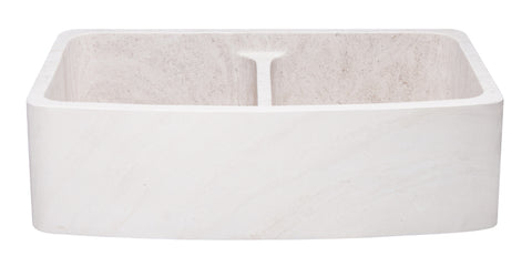 "Crema Lyon Limestone 36"" Stone 50/50 Double Bowl Farmhouse Sink, Beige, KFCF362210DB-NLP-5050-CL"