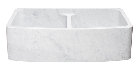 "Carrara Marble 36"" Stone 50/50 Double Bowl Farmhouse Sink, White, KFCF362210DB-NLP-5050-CW"