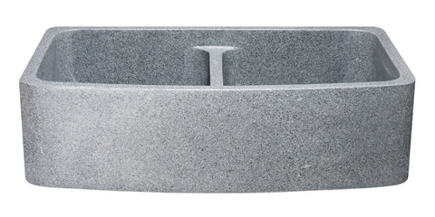"Mercury Granite 36"" Stone 50/50 Double Bowl Farmhouse Sink, Gray, KFCF362210DB-NLP-5050-M"