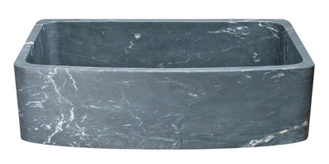 "36"" Soapstone Farmhouse Sink, Curved Reversible Apron Front, Charcoal Marquina, KFCF362210SB-NLP-CMS"