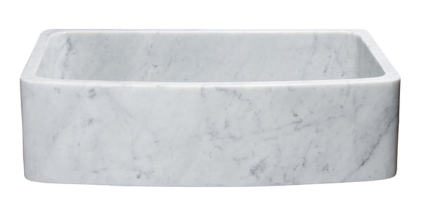 "Allstone 36"" x 22"" Handcrafted Stone Farmhouse Sink, Reversible, Carrara Marble, KFCF362210SB-NLP-CW - The Sink Boutique"