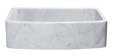 "Carrara Marble 36"" Stone Farmhouse Sink, White, KFCF362210SB-NLP-CW"
