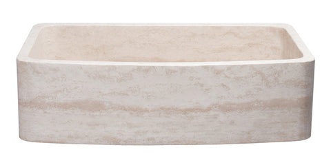 "Roma Travertine 36"" Stone Farmhouse Sink, Beige, KFCF362210SB-NLP-RT"