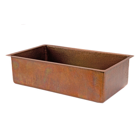 "Premier Copper Products 33"" Copper Kitchen Sink, Antique Copper, KSB33199"