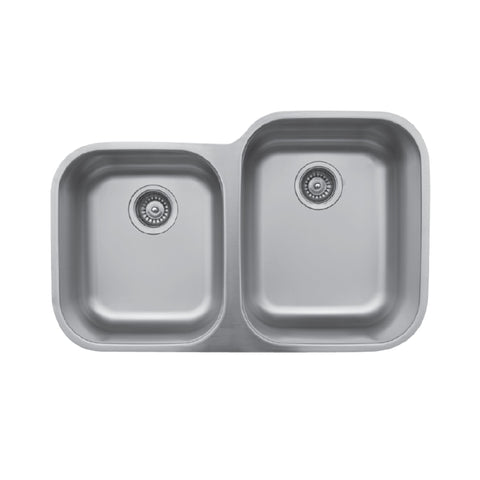 "Karran 32"" Undermount Stainless Steel Kitchen Sink, 40/60 Double Bowl, 18 Gauge, U-6040L"
