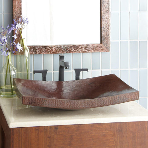 "Native Trails Kohani 20"" Rectangle Copper Bathroom Sink, Antique Copper, CPS257"
