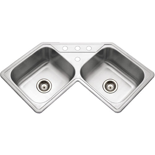 "Houzer 32"" Stainless Steel Topmount Legend Corner Bowl Kitchen Sink, LCR-3221-1"