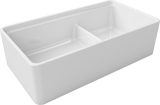 "Latoscana 36"" Double Bowl Fireclay Farmhouse Sink with Accessory Ledge, White, LDL3619W"
