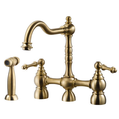 Houzer Lexington Bridge Kitchen Faucet with Sidespray Brushed Brass, LEXBS-956-BB