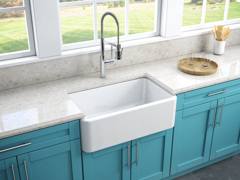 Latoscana 30-IN Fireclay Single Bowl Farmhouse Apron Sink Reversible LFS3018W Lifestyle Plain 1