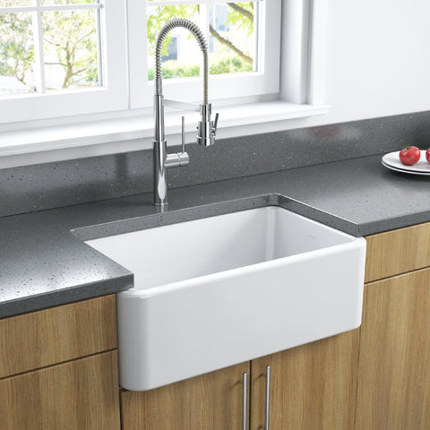 Latoscana 30-IN Fireclay Farmhouse Sink, Single Bowl, Reversible LFS3018W Lifestyle Plain 2