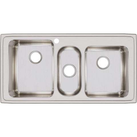 "Elkay Lustertone Classic 43"" Stainless Steel Kitchen Sink, 40/20/40 Triple Bowl, Lustrous Satin, LGR43221"