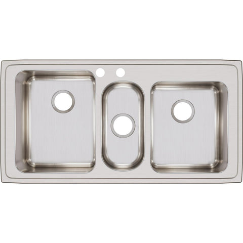 "Elkay Lustertone Classic 43"" Stainless Steel Kitchen Sink, 40/20/40 Triple Bowl, Lustrous Satin, LGR43222"