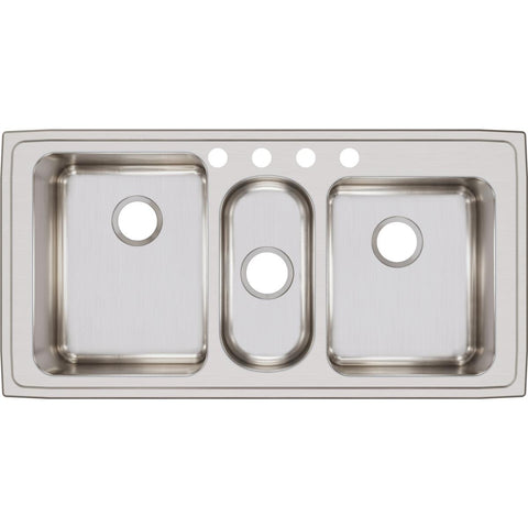 "Elkay Lustertone Classic 43"" Stainless Steel Kitchen Sink, 40/20/40 Triple Bowl, Lustrous Satin, LGR43224"