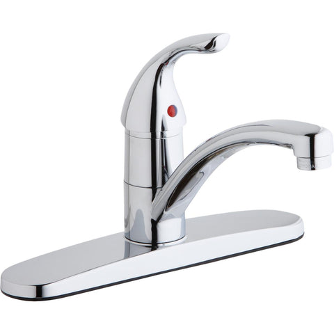 Elkay LK1000CR Everyday Three Hole Deck Mount Kitchen Faucet with Lever Handle and Escutcheon Chrome