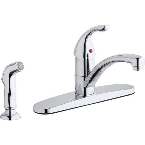 Elkay LK1001CR Everyday Four Hole Deck Mount Kitchen Faucet with Lever Handle and Side Spray and Escutcheon Chrome