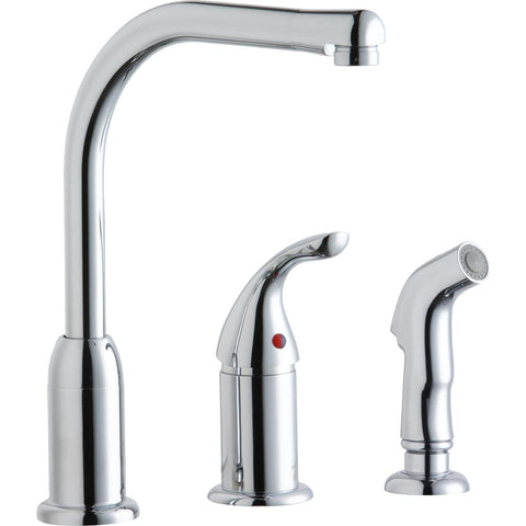Elkay LK3001CR Everyday Kitchen Deck Mount Faucet with Remote Lever Handle and Side Spray Chrome