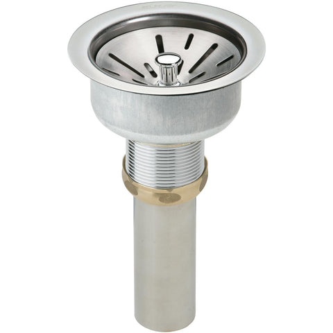 "Elkay LK35 3-1/2"" Drain Fitting Type 304 Stainless Steel Body, Strainer Basket and Tailpiece"