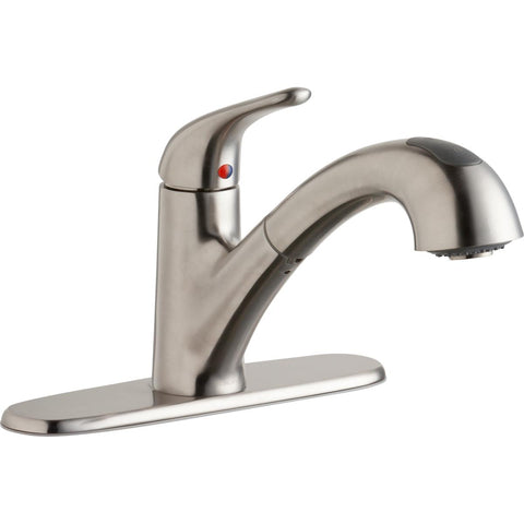 Elkay LK5000LS Everyday Single Hole Deck Mount Kitchen Faucet with Pull-out Spray Lever Handle and Escutcheon Lustrous Steel