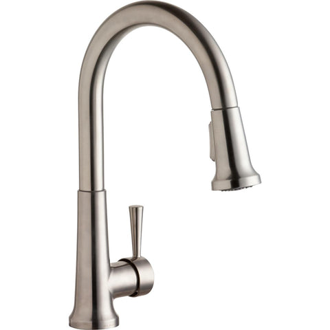 Elkay LK6000LS Everyday Single Hole Deck Mount Kitchen Faucet with Pull-down Spray Forward Only Lever Handle Lustrous Steel