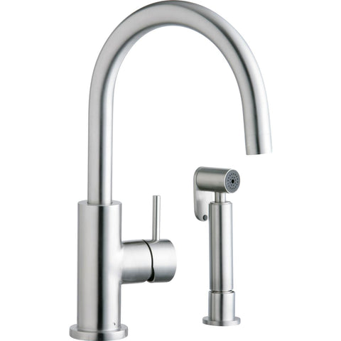 Elkay LK7922SSS Allure Single Hole Kitchen Faucet with Lever Handle and Side Spray Satin Stainless Steel