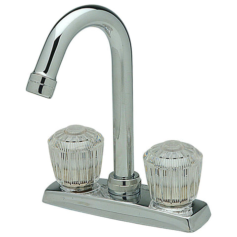 "Elkay LKA2475LF 4"" Centerset Deck Mount Faucet with Gooseneck Spout and Clear Crystalac Handles Chrome"