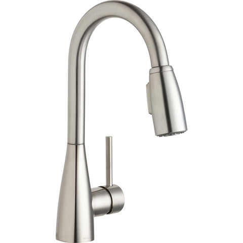 Elkay LKAV4032LS Avado Single Hole Bar Faucet with Pull-down Spray and Forward Only Lever Handle Lustrous Steel