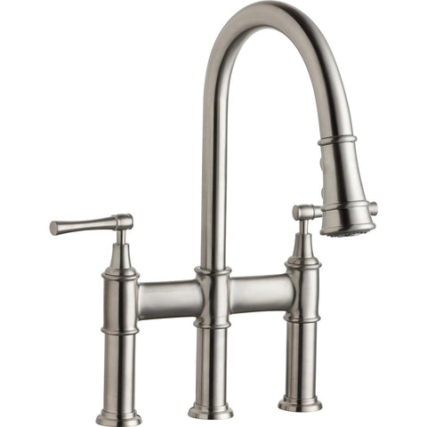 Elkay LKEC2037LS Explore Three Hole Bridge Faucet with Pull-down Spray and Lever Handles Lustrous Steel