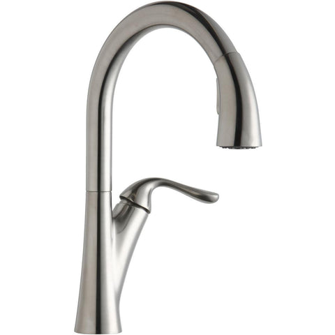 Elkay LKHA4031LS Harmony Single Hole Kitchen Faucet with Pull-down Spray and Forward Only Lever Handle Lustrous Steel