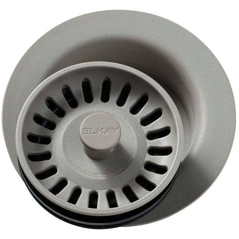 "Elkay LKQD35GR Polymer 3-1/2"" Disposer Flange with Removable Basket Strainer and Rubber Stopper Greige"