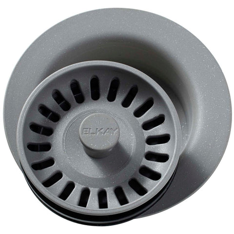 "Elkay LKQD35GS Polymer 3-1/2"" Disposer Flange with Removable Basket Strainer and Rubber Stopper Greystone"