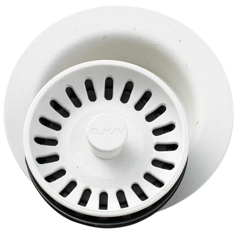 "Elkay LKQD35RT Polymer 3-1/2"" Disposer Flange with Removable Basket Strainer and Rubber Stopper Ricotta"