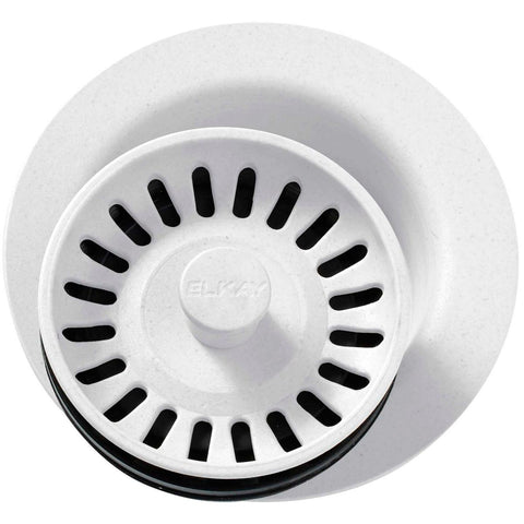 "Elkay LKQD35WH Polymer 3-1/2"" Disposer Flange with Removable Basket Strainer and Rubber Stopper White"