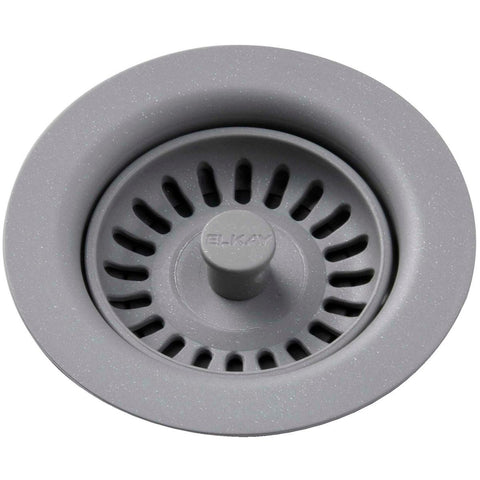Elkay LKQS35GS Polymer Drain Fitting with Removable Basket Strainer and Rubber Stopper Greystone