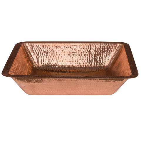 "Premier Copper Products 19"" Rectangle Copper Bathroom Sink, Polished Copper, LREC19PC"