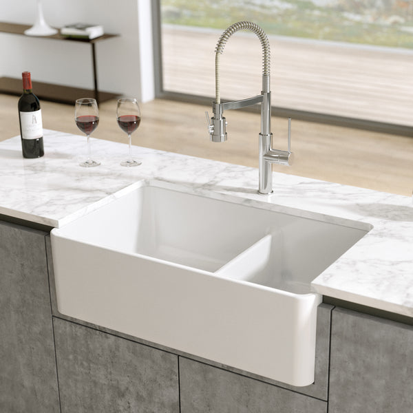 "Latoscana 33"" Fireclay Double Bowl Reversible Farmhouse Apron Sink, White, LTD3319W - The Sink Boutique"