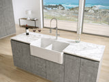Latoscana 33-IN Fireclay Double Bowl Farmhouse Apron Sink Reversible LTD3319W Lifestyle 1