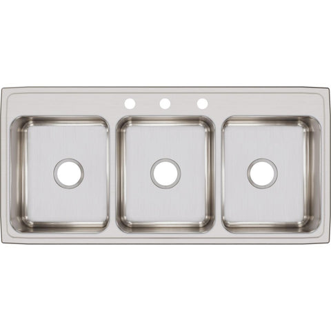 "Elkay Lustertone Classic 46"" Stainless Steel Kitchen Sink, 33/33/33 Triple Bowl, Lustrous Satin, LTR46223"