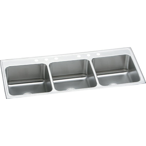 "Elkay Lustertone Classic 54"" Stainless Steel Kitchen Sink, 33/33/33 Triple Bowl, Lustrous Satin, LTR5422103"