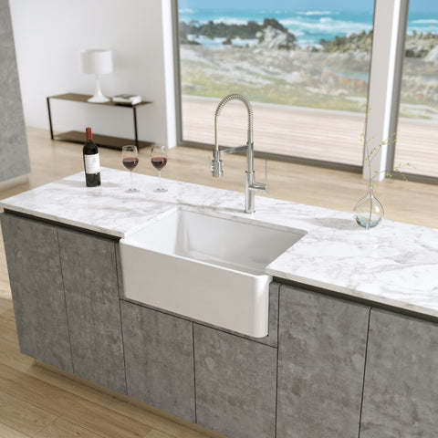 Latoscana 27-IN Fireclay Single Bowl Farmhouse Apron Sink Reversible LTW2718W Lifestyle 1