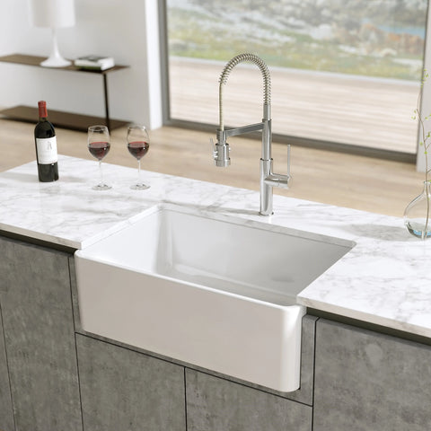 Latoscana 30-IN Fireclay Single Bowl Farmhouse Apron Sink Reversible LTW3019W Lifestyle 3