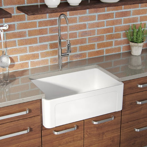 Latoscana 30-IN Fireclay Single Bowl Farmhouse Apron Sink Reversible LTW3019W Lifestyle 1