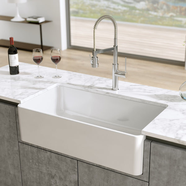 "Latoscana 36"" Fireclay Single Bowl Farmhouse Apron Sink, Reversible, LTW3619W - The Sink Boutique"