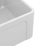 Latoscana 36-IN Fireclay Single Bowl Farmhouse Apron Sink Reversible LTW3619W Corner Angled 1