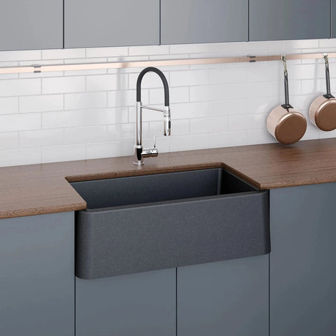 "LaToscana 33"" Farmhouse Sink, Composite Granite, Black Metallic, Marmorin Series, LA3319B"