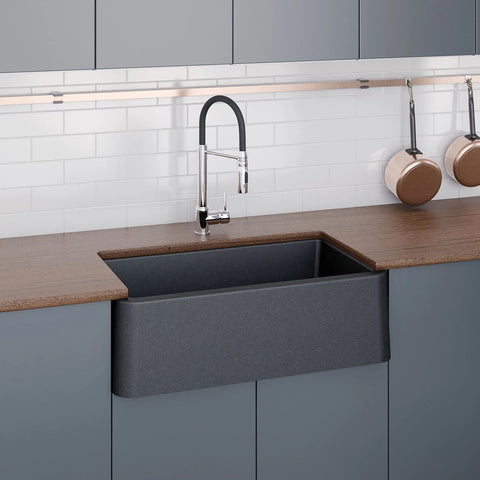 "LaToscana 30"" Farmhouse Sink, Composite Granite, Black Metallic, Marmorin Series, LA3019B"