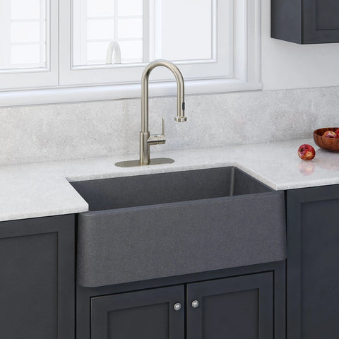 "LaToscana 33"" Farmhouse Sink, Composite Granite, Titanium Grey Metallic, Marmorin Series, LA3319T"