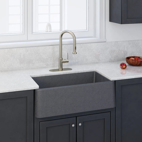"LaToscana 30"" Farmhouse Sink, Composite Granite, Titanium Grey Metallic, Marmorin Series, LA3019T"