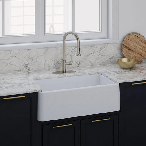"LaToscana 33"" Farmhouse Sink, Composite Granite, White, Marmorin Series, LA3319W"